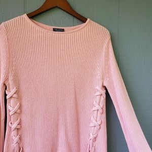 The Limited Solid Pink Tie Side Knit Sweater Small